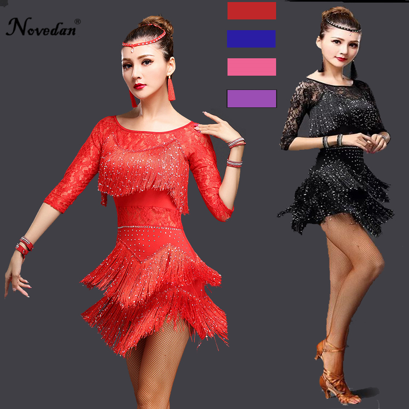 Sexy Red Tango Dress Salsa Latin Dance Dress Women Lace Fringe Ballroom Dance Competition Dresses For Sale