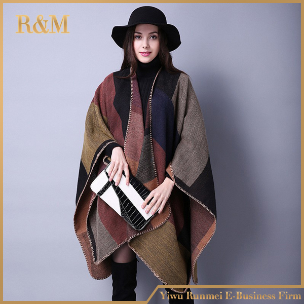 Top Quality Fashion Geometry Ladies Pashmina Scarf Thick Green Women Cashmere Shawl Wrap Warm Winter Wool Poncho Shawl