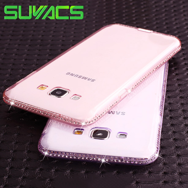 SUYACS For Samsung Galaxy J3 J5 J7 2015 2016 2017 EU Version S8 Plus S5 S6 S7 Back Cover CZ Crystal Soft TPU Frame Phone Case