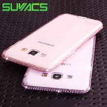 SUYACS Için Samsung Galaxy J3 J5 J7 2015 2016 2017 AB Sürümü S8 Artı S5 S6 S7 arka kapak CZ Kristal yumuşak TPU Çerçeve telefon ...