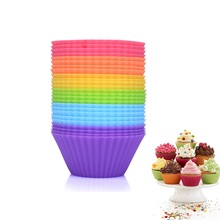 12PCs Random 6Colors 7cm Muffin Silicone Mold Bakeware Cupcake Liners Mold Baking Cake Decorating Tools Kitchen Accessories