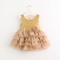 New 2017 Baby Girls Lace Sequins Dresses Kids Girls Princess Tulle Tutu Dress Babies Spring Summer