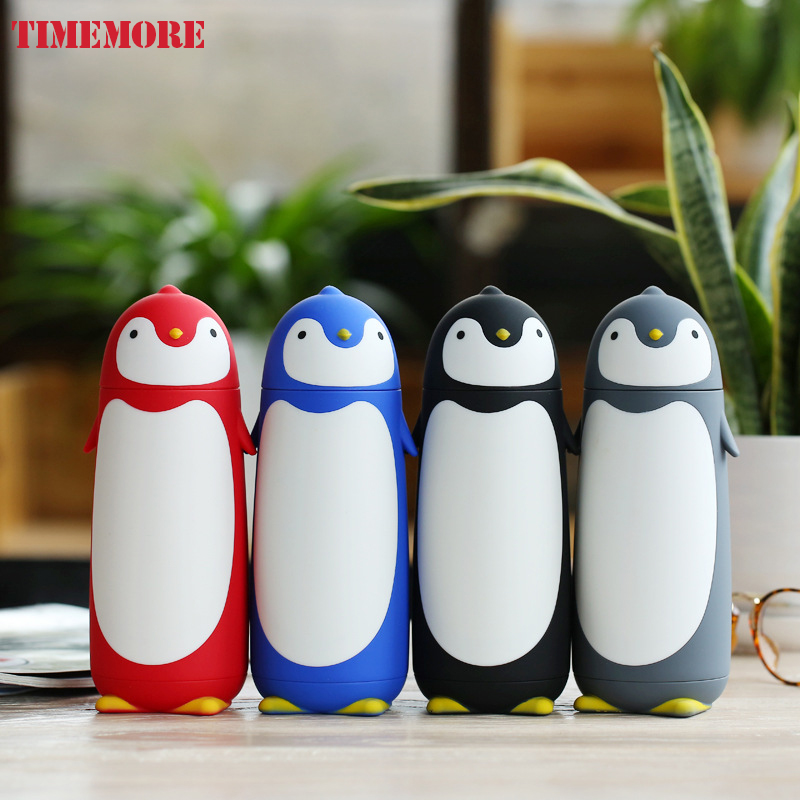 4 colors cute Sweet gift 280ml Double Layer Penguin Glass Drinking Bottle Cartoon Child Water Bottles