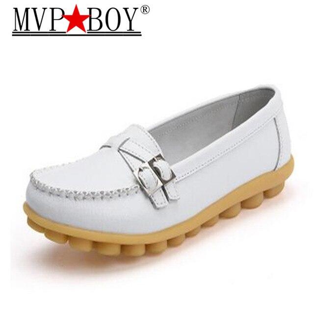 MVP BOY Primavera casual scarpe a suola piatta in pelle di grandi  dimensioni mamma scarpe infermiera 20b04d0b866