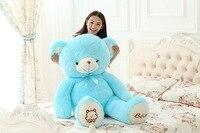 big plush blue bow teddy bear toy lovely bear doll birthday gift about 135cm s2948