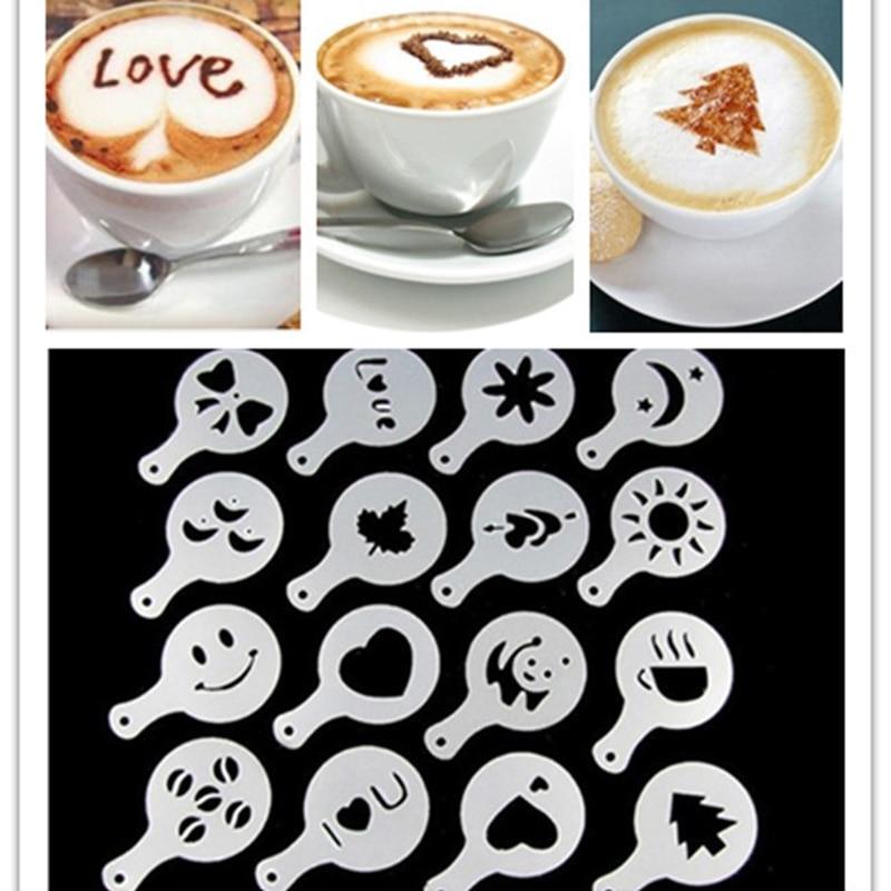 16Pcs/set Fashion Cappuccino Coffee Barista Stencils Fancy Coffee Milk Bubble Spray Template Tools B