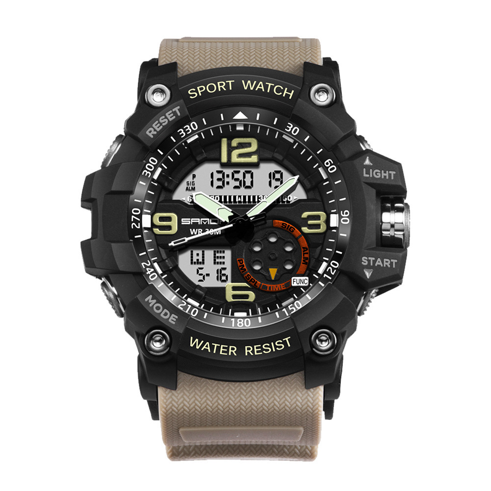 Digital Analog Dual Time Sport Watch Zones Calendar Chronograph Military Resin Wrist Watch Men 35