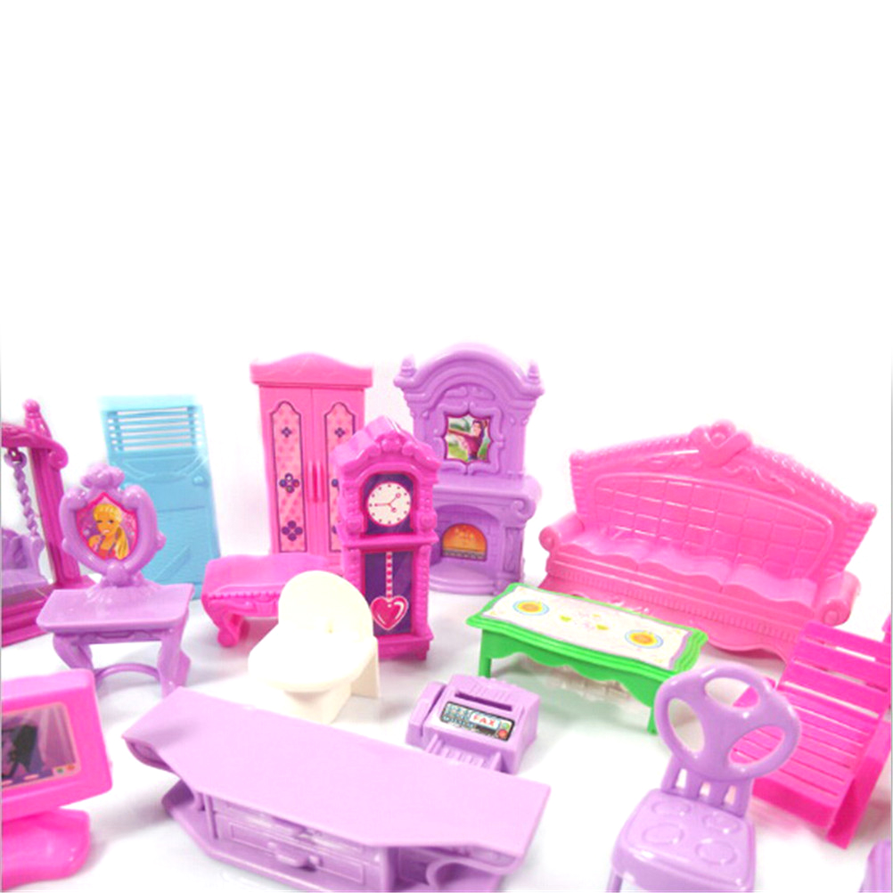 Hot Sale Pretend Play Toys Christmas Gift Plastic Furniture Miniature Rooms For Doll 22PCS/set 3D Dolls House Set Baby Kids-3