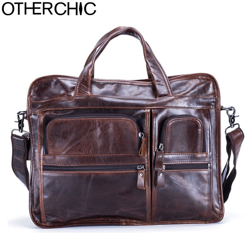 OTHERCHIC 2017 Business Genuine Leather Men Brand Briefcase 14 Laptop Business Messenger Bag Crossbody Men Lawyer Handbags17Y19 men genuine leather bag messenger bag man crossbody large shoulder bag business tote briefcase brand handbags laptop briefcase