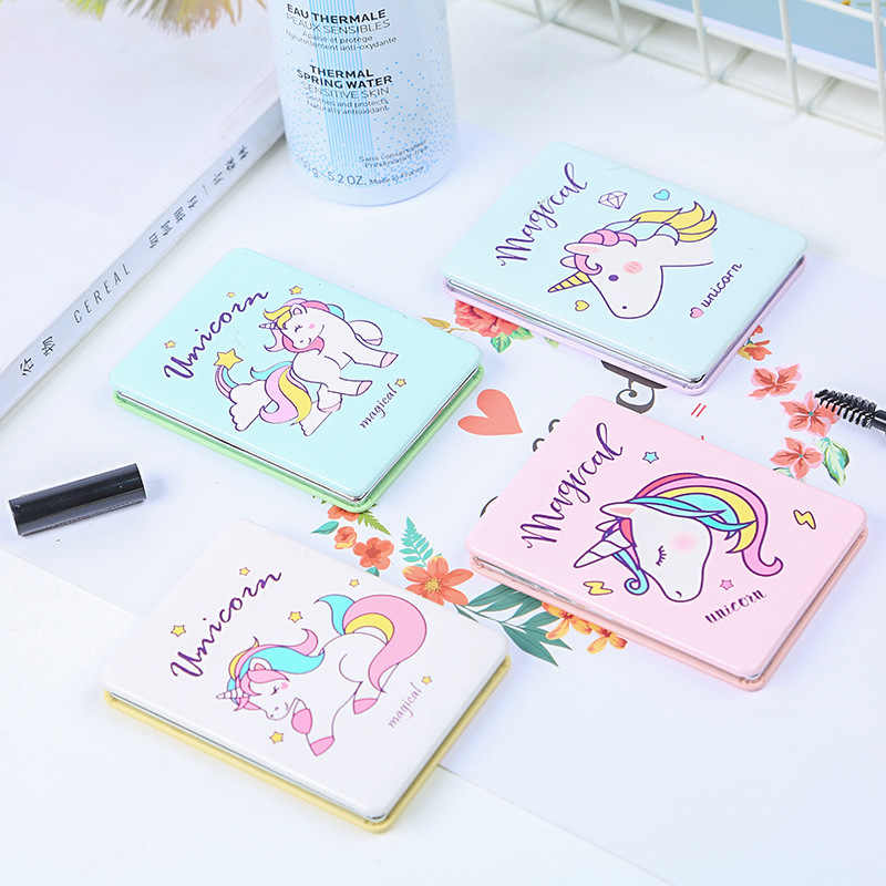 Mini Clamshell Unicorn Makeup Cermin Dua Sisi Independen Berdiri Lucu Kartun Lipat Double Wajah Cermin Angle Adjustable