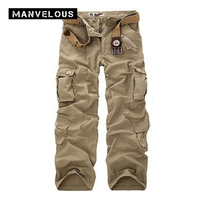 Manvelous Cargo Pants Mens 2017 Spring 100 Cotton Loose Straight Trousers Pocket Full Length Mens Army