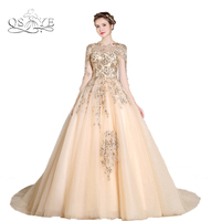 100 Real Photo New Charming Long Sleeve Arabic Muslim Ball Gown Luxury Gold Lace Sexy Illusion