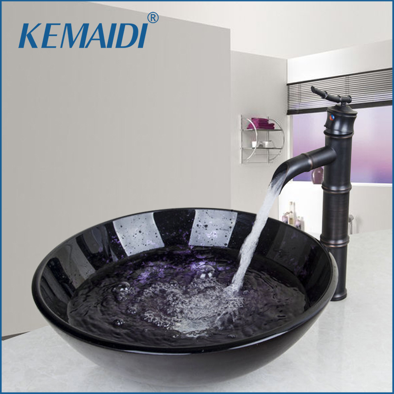 KEMAIDI Washbasin Lavatory Tempered Glass Sink Basin Sink Bathroom Faucet 42328655-1 Combine Brass Tap Mixer Faucet Pop-up Drain free shipping solid brass bathroom lavatory sink pop up drain with without overflow gold bathroom accessories