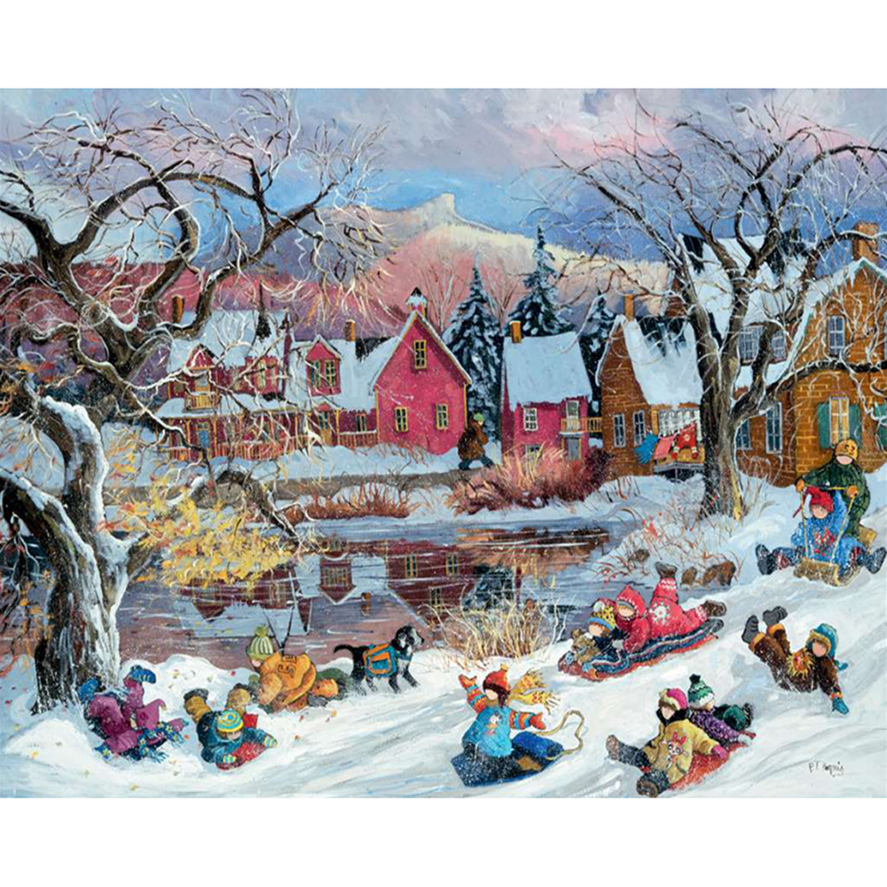 Diamond Painting Full drill squareround Play in the snow Mosaic DIY Diamond Painting Cross Stitch Embroidery Home Decor