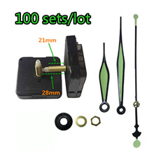 где купить 100sets Fluorescent green Hand Clock Mechanism Kit Mechanism For Parts Wall Clock Quartz Hour Minute Hand Quartz Clock Movement по лучшей цене