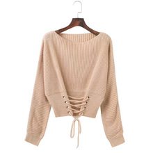 women sweaters pullover mama 2019 girls cute o-neck computer knitted lace up plus size oversized sweater korean недорого
