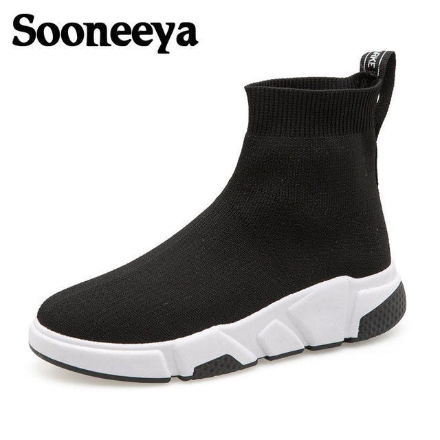 Sooneeya 2018 New Stretch Sock Shoes Woman Flats Fashion Bling Women Casual Shoes Elastic Sneakers Shoes Outdoor Female Loafers 2