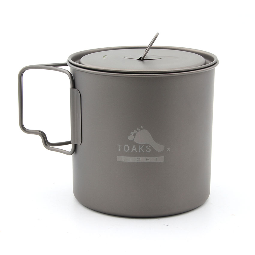 TOAKS POT-650-L Ultralight Titanium Pot Folding Handle Outdoor Camping Titanium Cup Titanium Bowl 650ml toaks slv 04 camping titanium spork