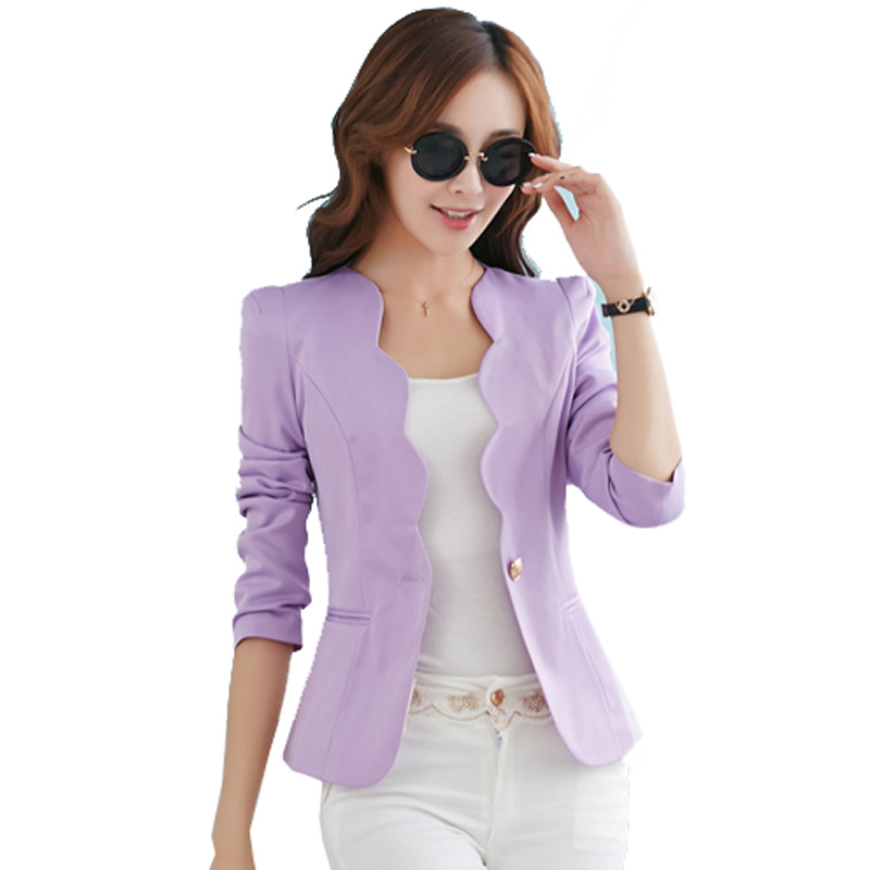 738f1c58e52 Fashion New Blazers Jackets For Women Work Royal Blue Blazer Candy Color  Slim Suit Flouncing Veste Blazer Femme YC051-in Blazers from Women s  Clothing on ...