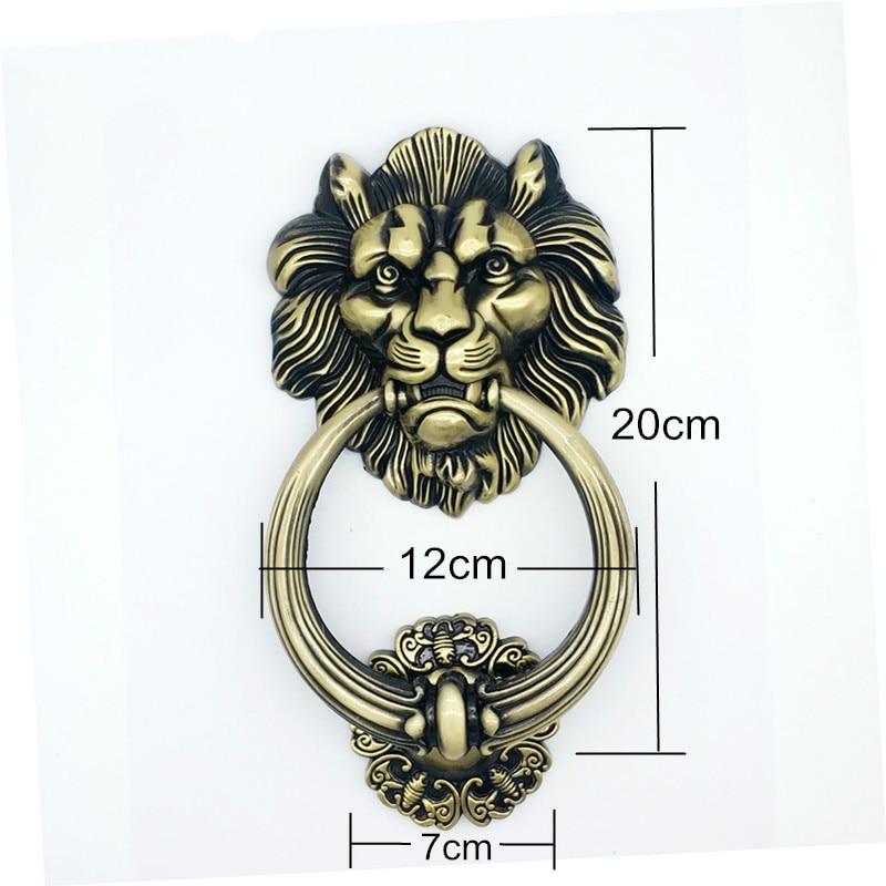 JD 20cm Large Antique Lion Door Knocker Lionhead Doorknockers Lions Home Decor Furniture Handle Hardware