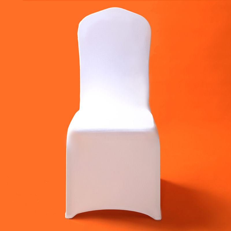 100Pcs Universal White Stretch Polyester Lycra Chair Covers Spandex for Weddings Party Banquet Hotel Dining Office Decoration image