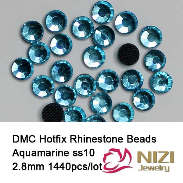 1440 pcs ss10 2.8-2.9mm aquamarine color DMC hot fix rhinestones flat back rhinestones High Quality for diy Free shipping