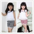 High Quality Kids Clothing Set New Summer Lace Children Girl Clothes Set T Shirt And Lattice shorts Pants 2 Colors Infant