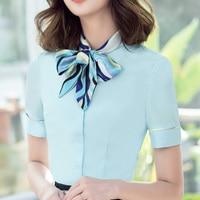 Summer Work Wo Shirts Bow Short Sleeve Slim A Flight Attendant Take Business Attire Blouse White