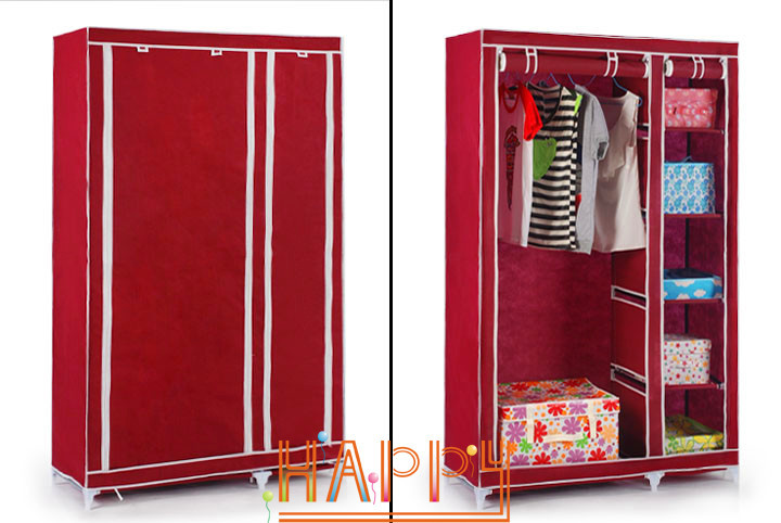 Charming House Scenery Bedroom Simple Steel Frame Folding Cabinet Portable Wardrobe  Hanging Fabric Wardrobe Closet Clothes Storage Locker In Wardrobes From  Furniture ...