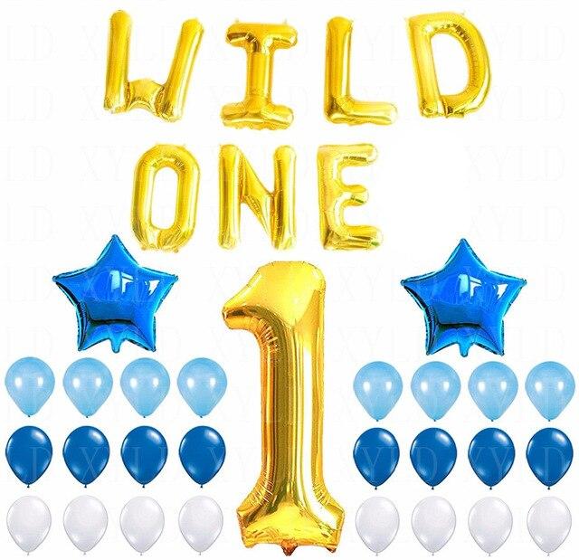 los salvajes decoracin de cumpleaos nmero de mylar globos de ltex globos de papel azul