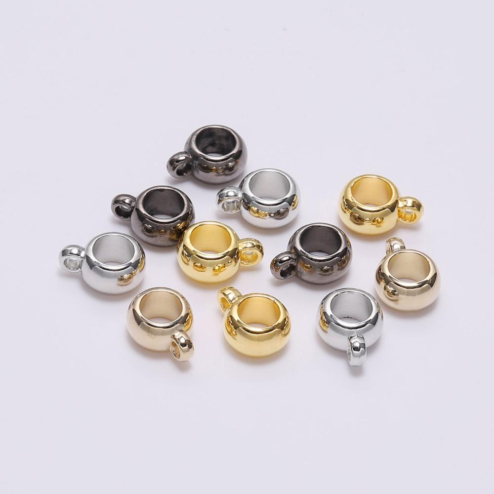 50pcs/lot CCB Pendant Clasp Bail Clip Big Hole Charm Beads Connectors For Jewelry Making DIY Pendants Clasp Supplie