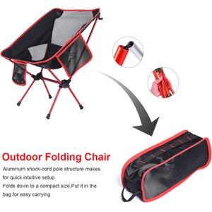 Image 3 - Strand Stuhl Angeln Beweidung Camping Ultraleicht Klappstuhl Im Freien Möbel 7075 Al Oxford Stoff Max 150 kg Moderne Mond Stuhl