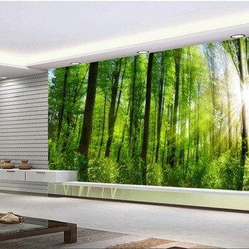Custom 3D Fabric Textile Wallcoverings For Walls Matt Silk For Living Room TV Background Murals European Forest Green Landscape