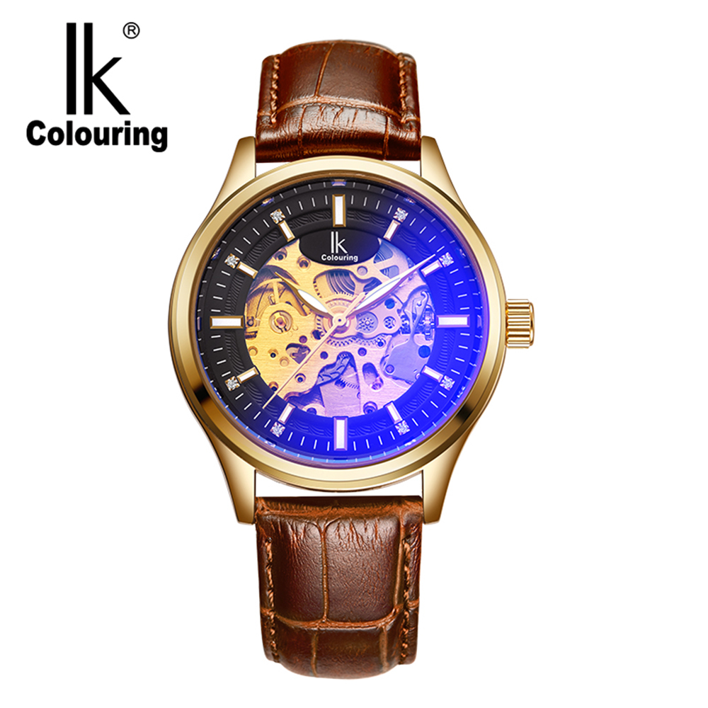 IK Colouring Clock Men Fashion Casual Skeleton Mechanical Wristwatch Male Automatic Watch Colorful Glass Relogio Masculino ik coloring bridge analog display mechanical male clock automatic wristwatch golden bezel skeleton watches relogio masculino