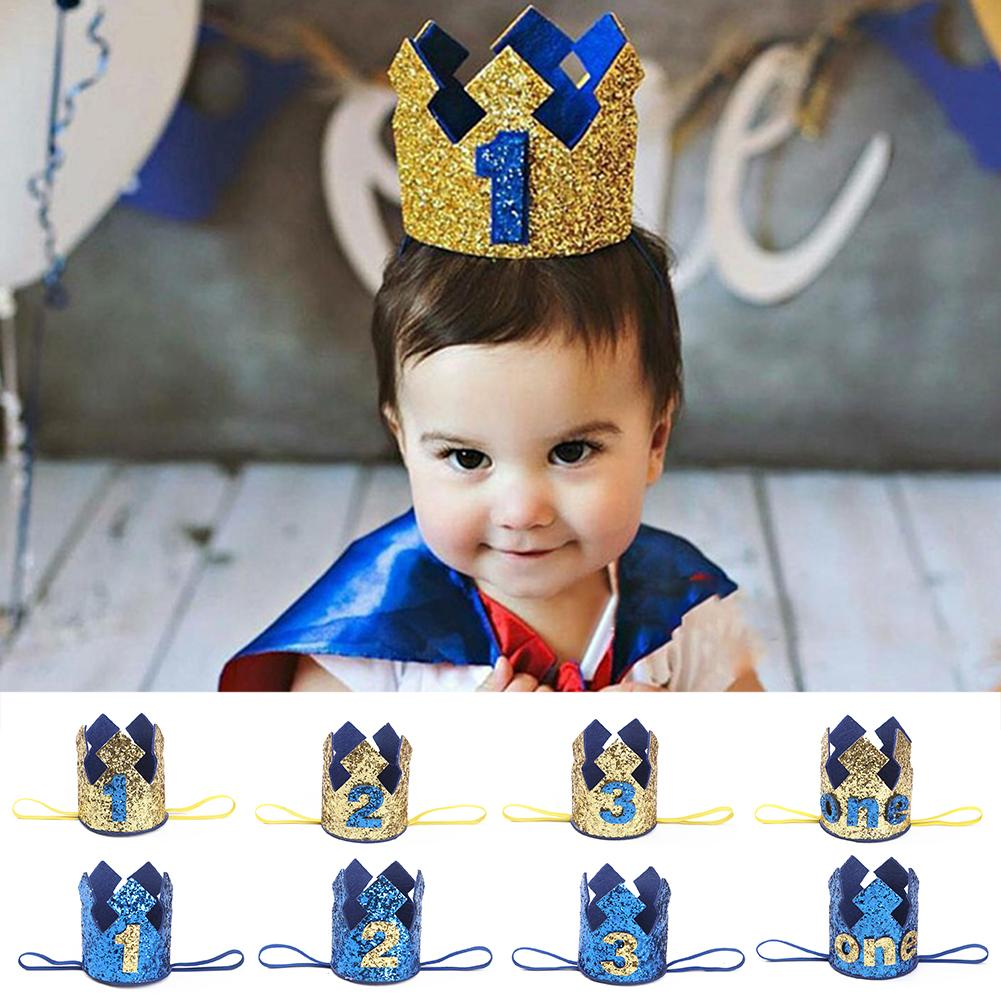 Blue Gold Boy First Birthday Hat Glitter Princess Crown Number 1st 2 3 Year Old Party Baby Shower Decor Headband Kids Gifts In Hats From Home Garden