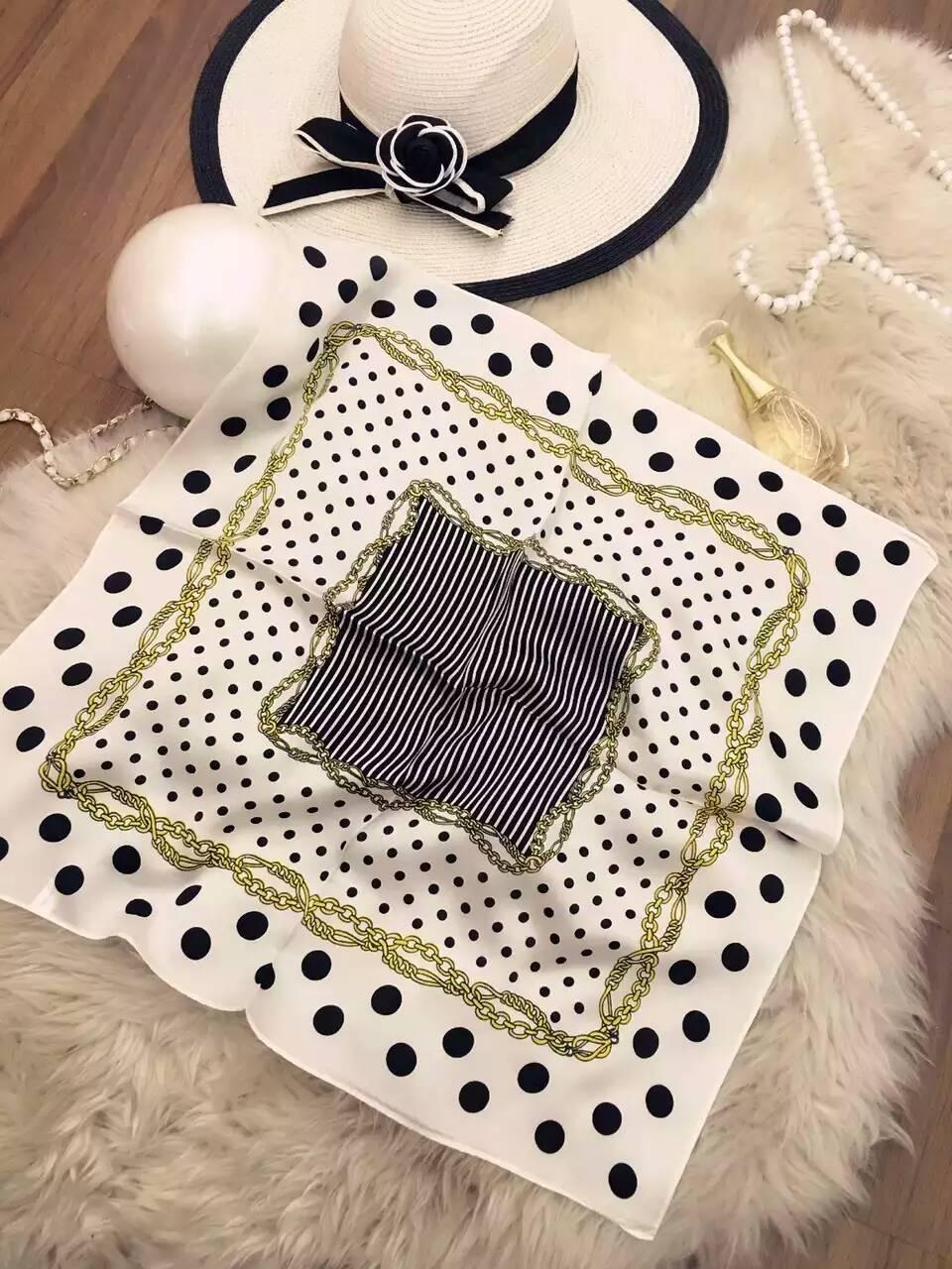 [SLKSCF] 55X55CM Brief Dot Print Silk Scarf Square Classic Design Real Satin Scarves Small Neckerchief Female - SLKSCF Store store