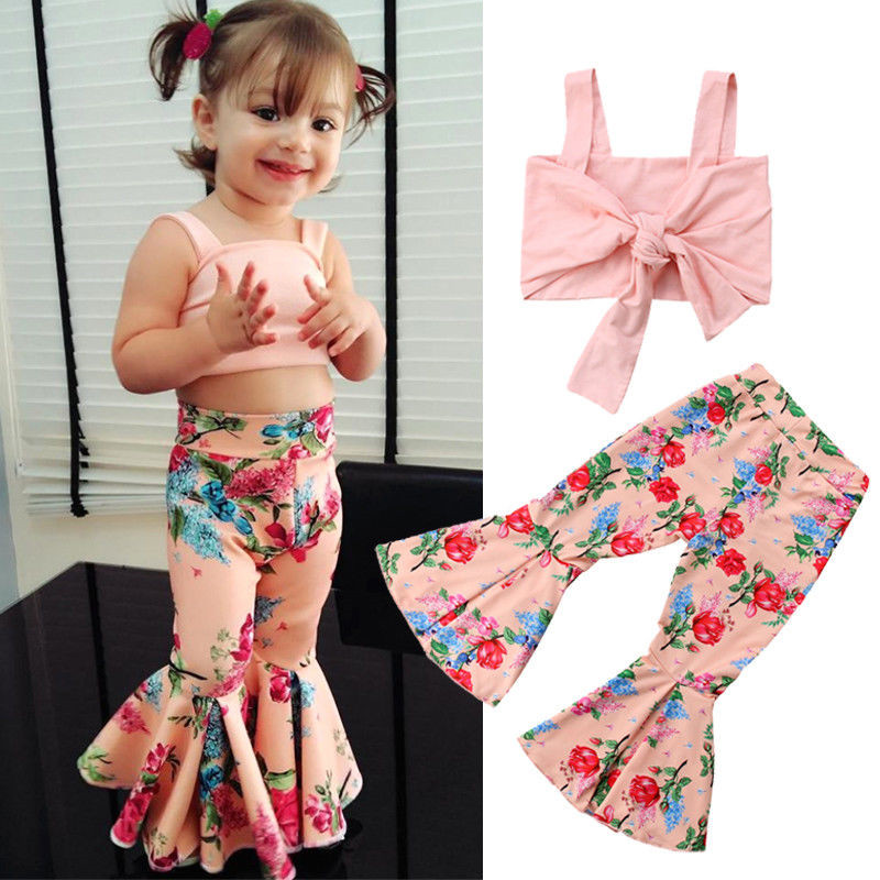 Floral Toddler Baby Girls Off Shoulder Crop Tops Long Wide Pants Outfit Clothes