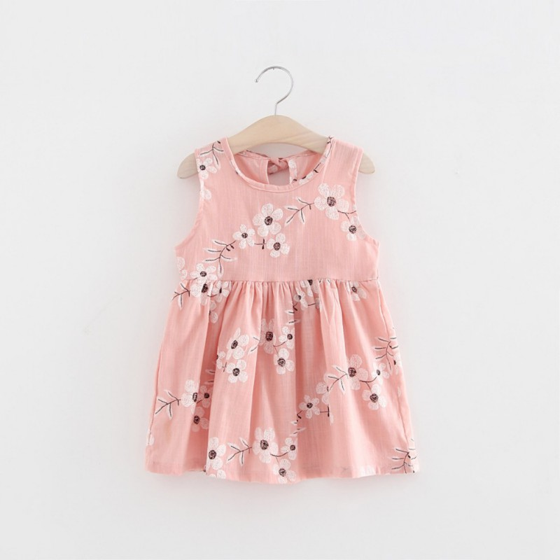 1-5Y Cute Girls Sleeveless Floral Printed Party Dress Princess A-line Dress Lovely Girls Vestido ellen tracy women s sleeveless floral printed a line dress