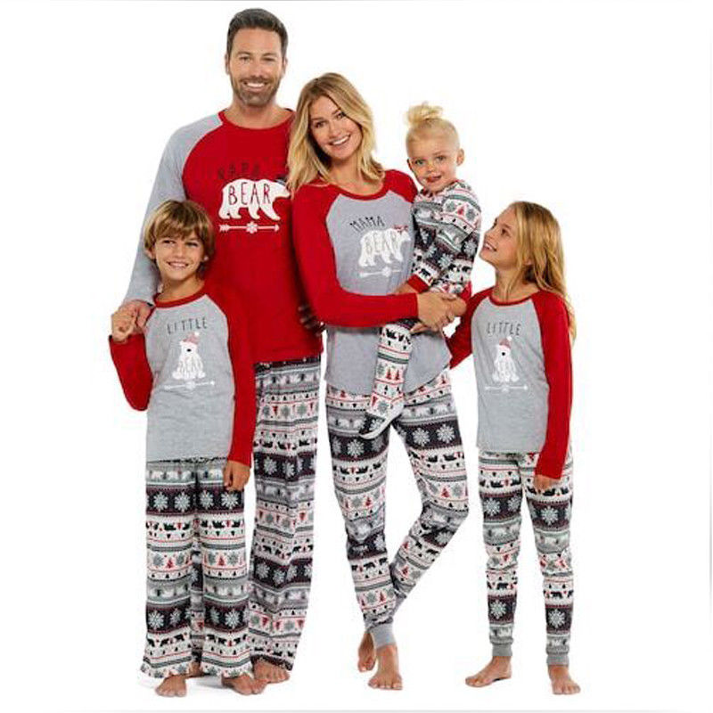 Xmas Fairy Christmas Family Snowflake Pants Bear Printing Tops Pajamas Set Adult Women Kids Sleepwear