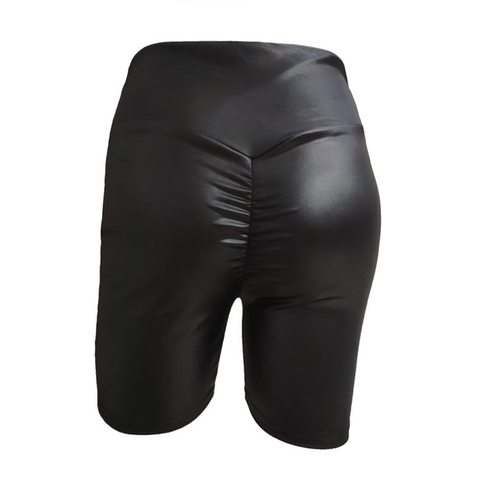 Drop Shipping No Invoices 2019 New Style Preferred Products Fast Shipping Fashion Faux Leather Fold Shorts 4 Colors Stock