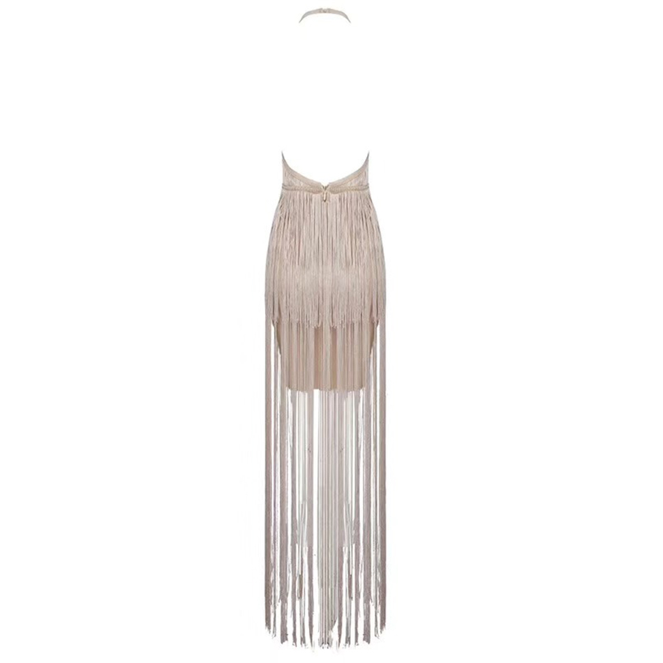 Christmas Dress Bandage Fringed Party Long New Tassel 2019 Halter Sexy Apricot Diving Women's Sleeveless U0SngwBqx
