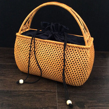 2017 designer handbags high quality Rattan handbag organizer makeup bag hand basket fashion tote bags