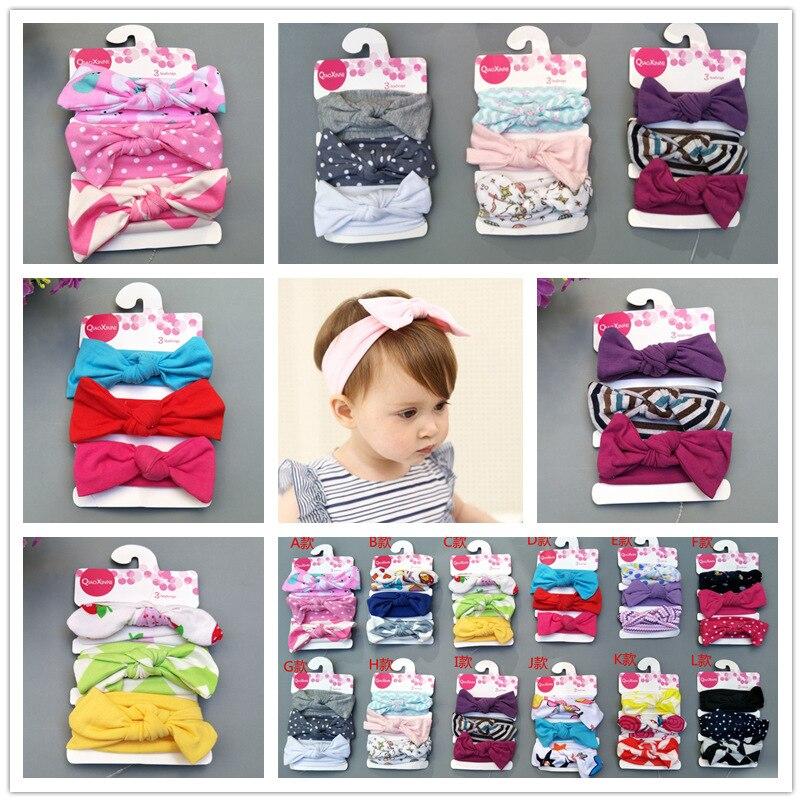 on sale 3pc Bebe girls Headband newborn Hair Band Children Tie Knot Turban Kids Headwrap Flower Print Accessories
