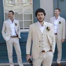 Latest Coat Pant Designs Ivory Beige Beach Linen Suits Men Wedding Suit Bestmen Summer Marriage Groom Tuxedo Custom 3 Piece