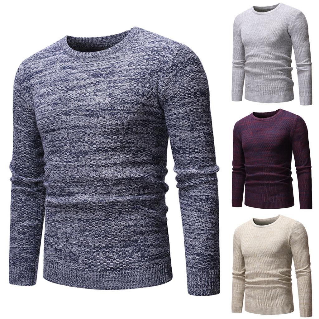 2019  Men's Sweater Coat Men's Long Sleeve Winter O-Neck Casual Elastic Top Blouse Knitted Sweater кофта женская свитер женский