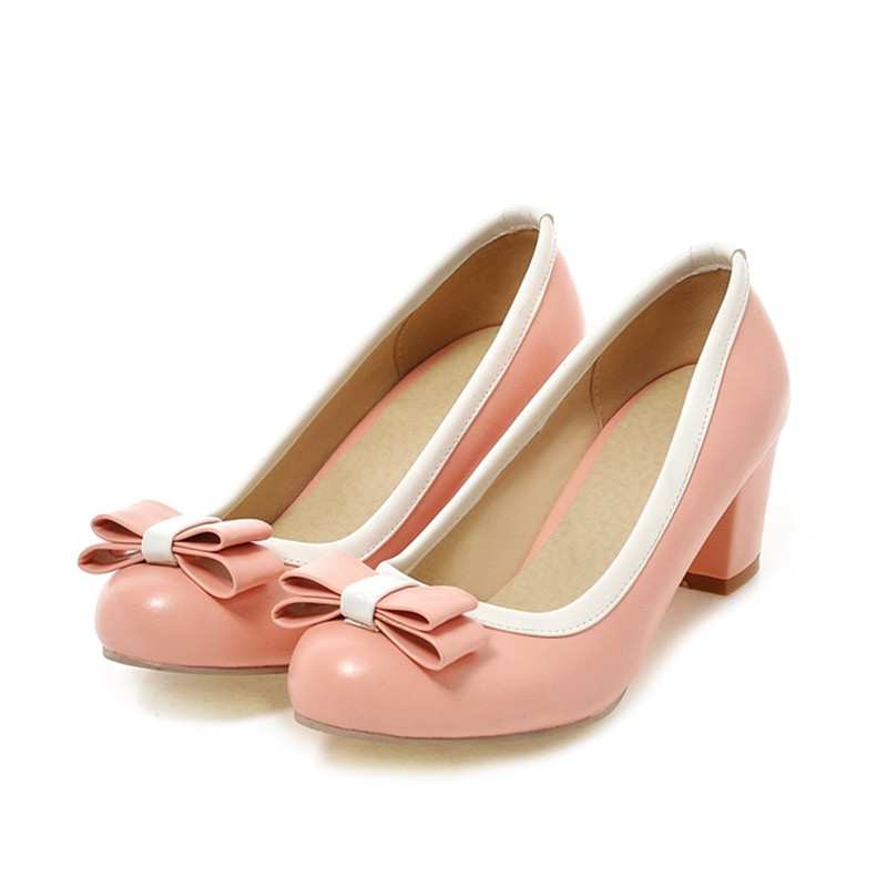 Sweet Bowtie Shoes Women Vintage Platform Thick High Heels Pumps For Woman Beige Black Green Pink