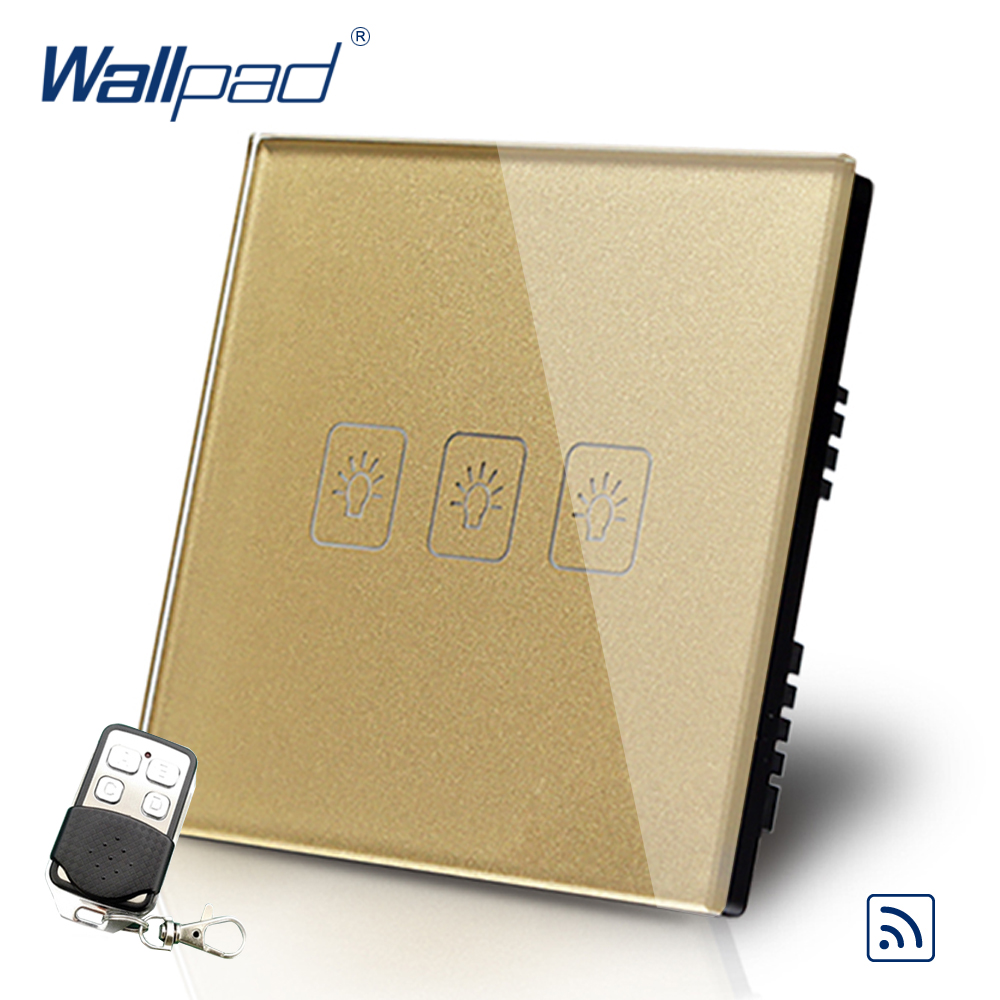 Gold 3 Gang 1 Way Remote Control Touch Switch Crystal Glass Switch Wallpad Luxury UK Standard Switch With Remote Controller smart home luxury crystal glass 3 gang 1 way remote control wall light touch switch uk standard with remote controller