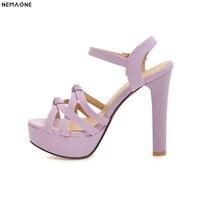 NEMAONE fashion summer ladies shoes buckle thin heel elegant women high heels sandals big size 33 43 black white purple pink