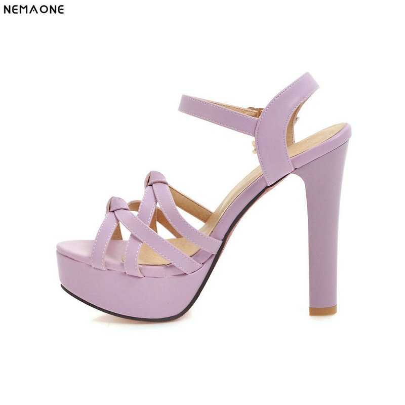 NEMAONE fashion summer ladies shoes buckle thin heel elegant women high heels sandals big size 33-43 black white purple pink