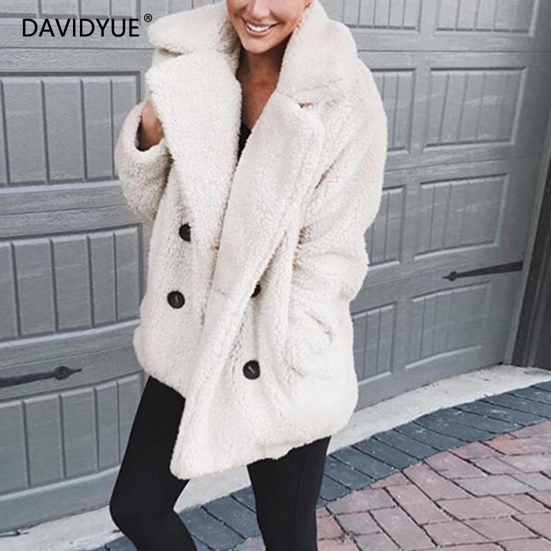 Зимняя куртка из овечьей шерсти женские шубы из искусственного меха Повседневная розовая черная Меховая куртка на пуговицах пальто с длинным рукавом негабаритная верхняя одежда 2019